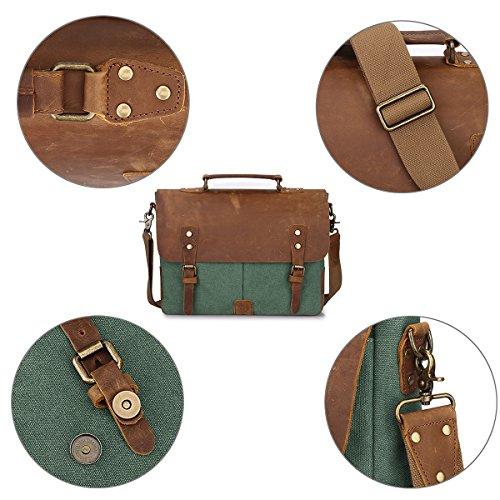vendimia taleguilla cuero mensajero bolso portátil ZONE y la verde de bolso del hombro S de tela bolsa de ordenador de la genuino maletín bolsa Cp4qa