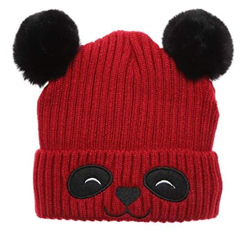 Childrens Soft Pompom Beanie Warm Winter Hat surell Kids Soft Acrylic Knit Hat with Rabbit Fur Pom
