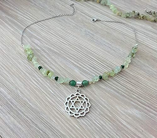 Saananda - Heart chakra peridot chips with emerald, nephrite jade beaded necklace 15