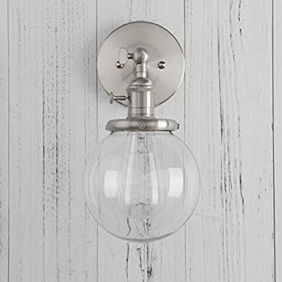 """Permo Vintage Industrial Wall Sconce Lighting Fixture with Mini 5.9"""" Round Clear Glass Globe Hand Blown Shade"""