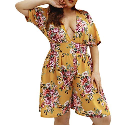 Sunyastor Floral Rompers for Women Plus Size Women Playsuit Sexy Boho Flora Deep V Neck Short Sleeve Summer Beach Jumpsuits ()