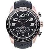 Alpinestars Tech Men's Chronograph Watch, Analog Chrono 45 MM Stainless Steel case, 100 Meters Water Resistant, Japanese Movement, Integrated Durable Silicone Wristband (Rose Gold-Black)