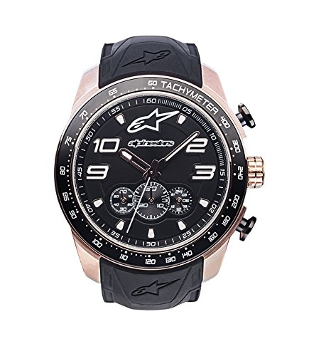 (Alpinestars Tech Men's Chronograph Watch, Analog Chrono 45 MM Stainless Steel case, 100 Meters Water Resistant, Japanese Movement, Integrated Durable Silicone Wristband (Rose Gold-Black))