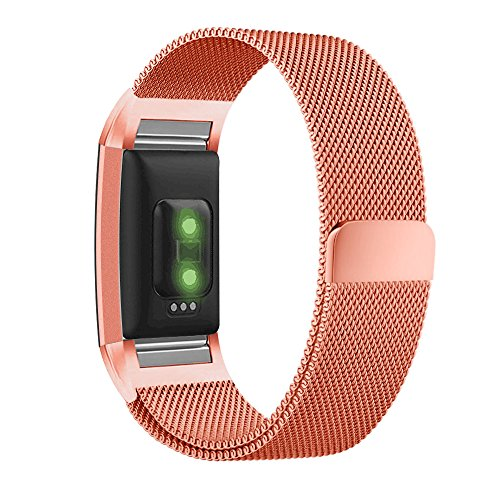 UMTELE for Fitbit Charge 2 Bands, Milanese Loop Stainless Steel Metal Bracelet Strap with Unique Magnet Lock, No Buckle Needed for Fitbit Charge 2 HR Fitness Tracker Coral Large