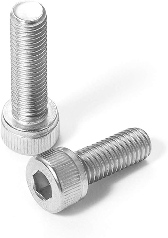 304Nut Lave-linge 10Sets M5 304 vis /à t/ête /à six pans creux en acier inoxydable M5x6 25 30 35 40 45 70 75 80 85 90 100 mm /écrou de la vis /à t/ête /à six pans creux M5 et la rondelle Taille