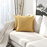 Kevin Textile Soft Faux Linen Throw Cushion Cover Pillow Covers Shams for Couch, Invisible Zipper, 45x45cm(Set of 2, Yolk Yellow)