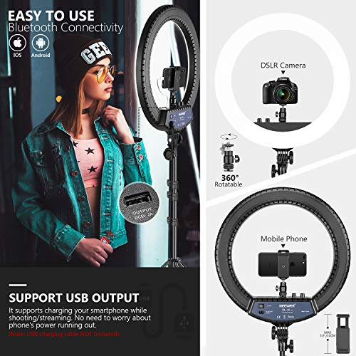 Neewer 18-inch LED Ring Light with Stand and 2.4G Wireless Remote, 55W 3200K-5500K Makeup Ringlight with Soft Tube/Phone Holder/Ball Head for Vlogging Selfie Video Shooting, Support USB Charge