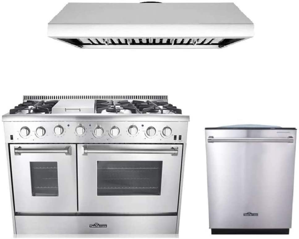 Amazon Com Thor Kitchen 3 Piece Kitchen Package With Hrg4808u 48 6 Burner Stainless Steel Gas Range Hrh4806u 48 Under Cabinet Range Hood In Stainless Steel And Hdw2401ss 24 Dishwasher In Stainless Steel Appliances