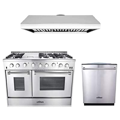 Buy Thor Kitchen 3 Piece Kitchen Package With Hrg4808u 48 6 Burner Stainless Steel Gas Range Hrh4806u 48 Under Cabinet Range Hood In Stainless Steel And Hdw2401ss 24 Dishwasher In Stainless Steel Online In Canada B06x9vm5gh