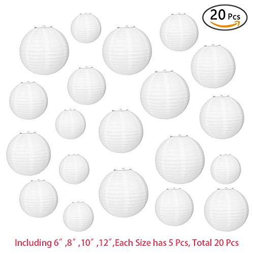 GVN 20 Packs White Round Chinese Paper Lanterns With 6, 8, 10 and 12 Inch Multi-sizes of 5 Each. Wonderful Hanging Lamp Decoration for Birthday Wedding Party Decorations Crafts