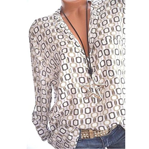 Women Plus Size Tops, Chic V-Neck Long Sleeve Geometric Print Blouse 8 (Mesh Silk Blouse)