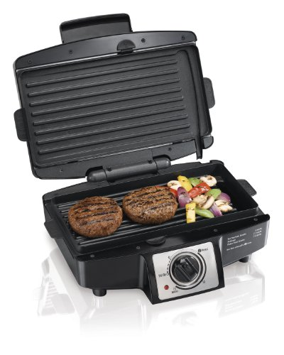 "Hamilton Beach 040094253326 (25332) Electric Indoor Grill with Non Stick Removable Plates, 110"" Cooking Surface, 7 x 14 x 12 Inch, Black"