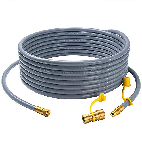 GASPRO 24 feet Natural Gas Hose with 3/8 Male Flare Quick Connect/Disconnect for BBQ Gas Grill- 50,000 BTU Fits Low Pressure Appliance with 3/8