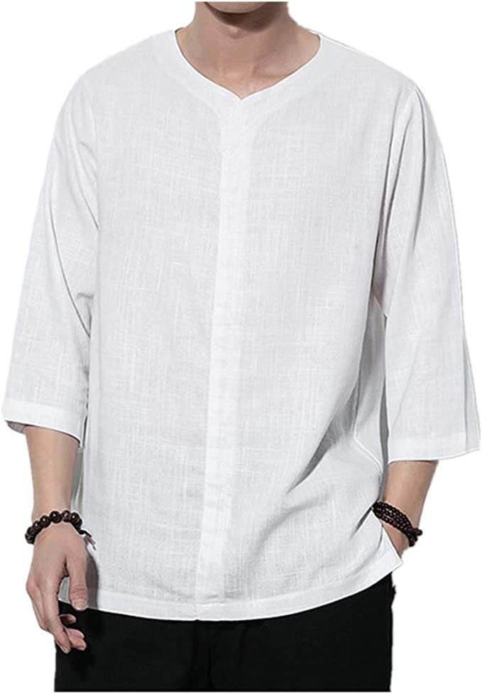 Fseason-Men 3//4 Sleeve Floral Oversized Loose-Fit Blouses and Tops Shirts