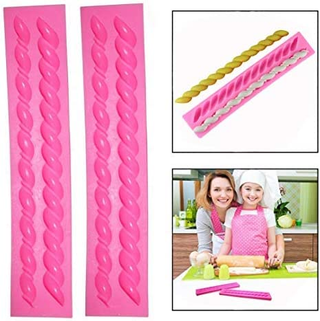 OFKP 2 Pcs Pink Fritters Twist Rope Cake Fondant Twist Molds DIY Silicone Rope Baking Tools