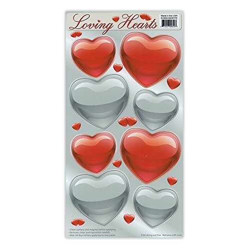 Crazy Sticker Guy Magnet Variety Pack (8 Magnets) - Red and Silver Hearts (Valentine's Day) - Refrigerators, Cars, Mailboxes, Decoration - 2.25