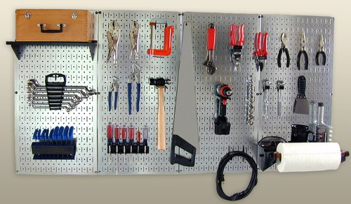 Wall Control 30-COS-400 GVB Pro-Grade Metal Pegboard Organizer Galvanized Tool Board Panels with Black Accessories by Wall Control
