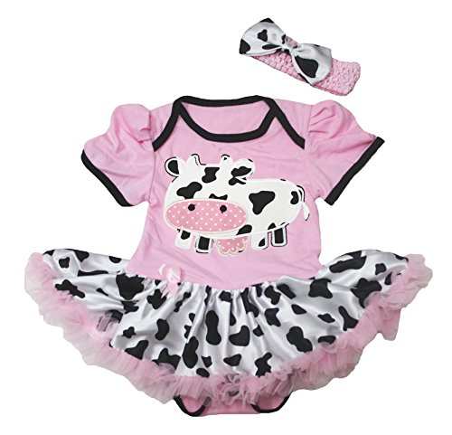 Cowgirl Tutu - Little Cattle Pink Cotton Jumpsuit Bodysuit Cow Tutu Cowgirl Baby Dress Nb-18m (12-18month)