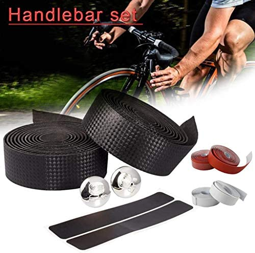 Carbon Fiber Bike Handlebar Tape Comfort GEL Road Wrap+2 Bar Belt Straps Supply