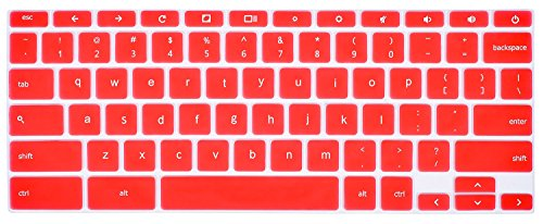 CaseBuy ASUS Chromebook Keyboard Cover for ASUS ChromeBook C300 C300MA C300SA C301SA-DS02 C301SA-DB04 13.3 Inch ChromeBook (Red)