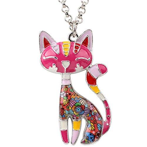 BONSNY Statement Enamel Alloy Chain Cat Necklaces Pendant Original Design for Women Girls (Red)
