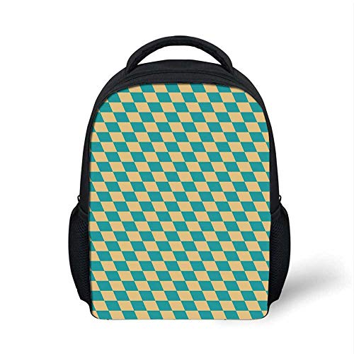 (Geometric Stylish Backpack,Art Deco Style Chess Table Dart Like Horizontal Vintage Image for School Travel,9.4