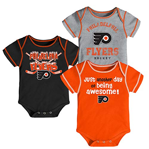 Outerstuff NHL Newborn Infants Awesome Player 3 Piece Creeper Bodysuit Set (12 Months, Philadelphia Flyers) ()