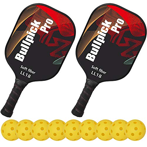 - Bullpickpro Pickleball Paddle Sets-Composite Fiber Face and PP Honeycomb Core Pickleball Racquet,Lightweight(The Average of 7.2oz) Edge Guard Balanced Pickleball Rackets with 9 Pickleballs,Red