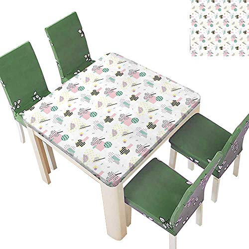 Printsonne Polyester Table Cloth Pastel Colored Diagonal and Hexagonal with Dots Inside Hipster Kids Theme Table 23 x 23 Inch (Elastic Edge) ()