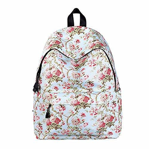 JIUSHIGUANG Oxford Estudiante De Tela Universidad Viento Linda Gran Capacidad De Viaje Bolsa De Ocio Al Aire Libre Floral Blanco 30 * 14 * 40 Cm Bolsos Mochila