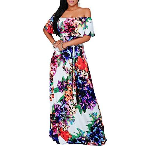 Eiffel Women's Boho Ruffle Floral Print Off Shoulder Maxi Dress Bodycon Party Beach Dresses (X-Large, Multicolor)