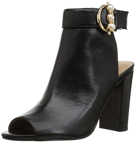 The Fix Women's Giana Open Toe Bootie with Pearl Buckle, Black Leather, 7 B US