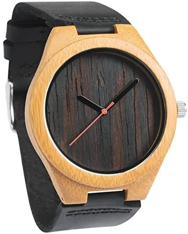 Treehut Mens Wooden Wenge Bamboo Watch with Genuine Black Leather Strap Quart.