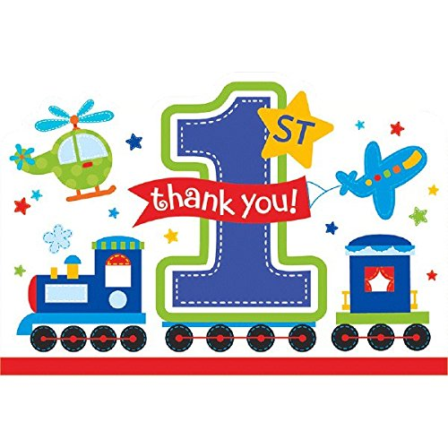 Amscan All Aboard Boy 1st Birthday Die-Cut Postcard Thank You Cards, 4.25