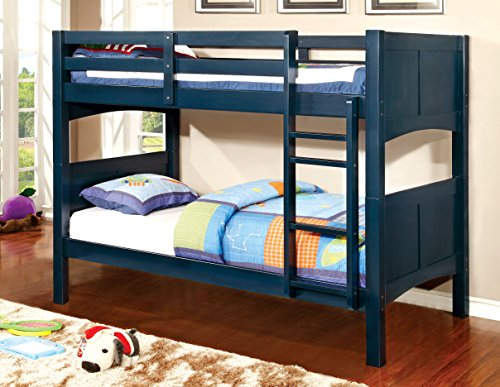 Furniture of America Benny Twin-Twin Bunk Bed, Blue