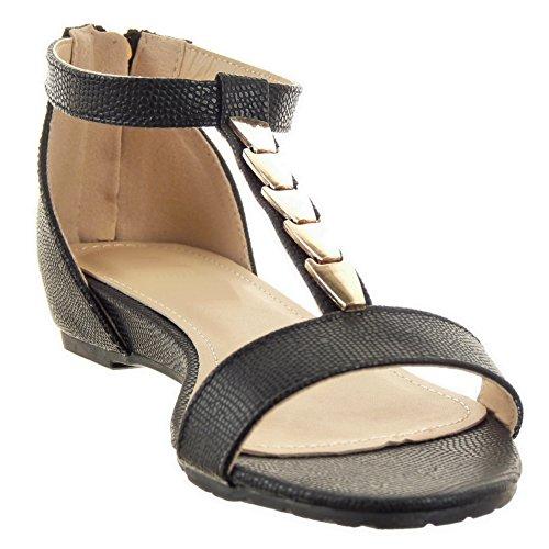 Sopily - damen Mode Schuhe Sandalen T-Spange Schlangenhaut metallisch Schleife - Schwarz
