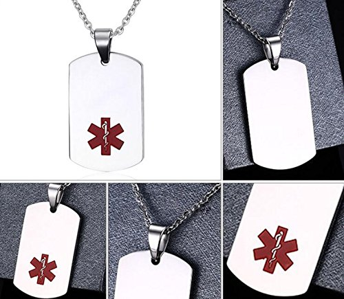 Medical Alert Stainless Steel Large ID Dog Tag Pendant Necklace (1)