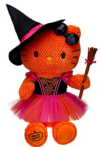 Build a Bear Hello Kitty Funky Witch Costume Halloween Orange Pumpkin Themed 18in. Stuffed Plush Toy -