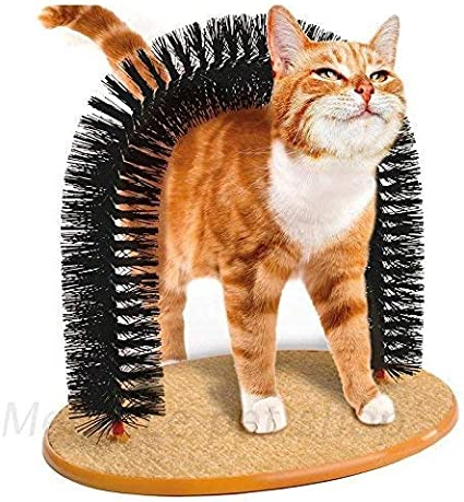 Cxjff Tomister Massager Arch for Gatos con Cepillo de rascar y Tablero de rascado de sisal Integrado for Masaje, Aseo y Juego: Amazon.es: Productos para mascotas