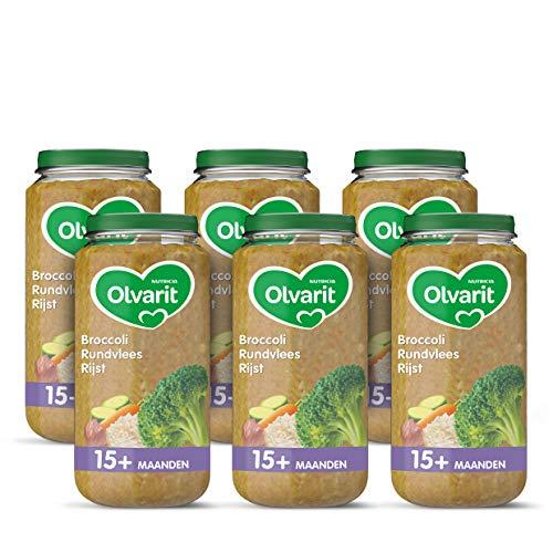 Olvarit Broccoli Rundvlees Rijst – babyhapje voor baby's vanaf 15+ maanden – 6×250 gram babyvoeding in een maaltijdpotje