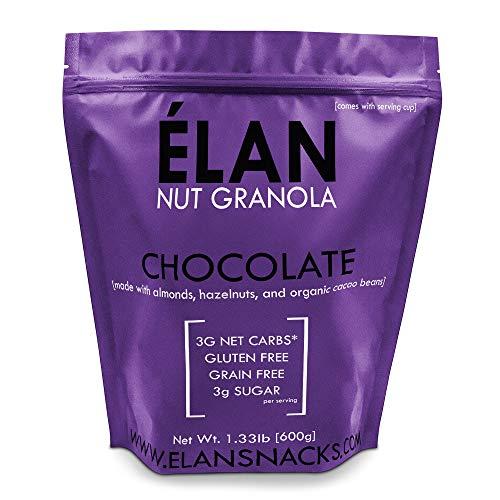 ELAN Keto Dark Chocolate Granola, Low Net Carb (3g), Healthy Gut & Fat Bomb Appetite Suppressant Cereal, Grain Free, Gluten Free (Almond Macadamia Nut Hazelnut, 1.33lb Bulk Bag)