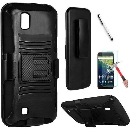 outlet store 756c5 26d9f LG Volt 3 / LS755 Case, Luckiefind Dual Layer Hybrid Side Kickstand Cover  Case With Holster Clip, Stylus Pen & Tempered Glass Screen Protector ...