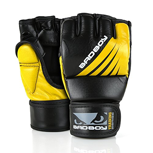 (Bad Boy MMA Gloves Training Series Synthetic Leather Mixed Martial Arts Sparring Gloves Black/Yellow -)