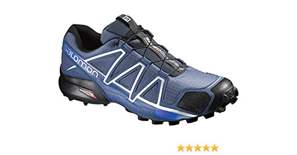 09f2edcc3516 Salomon Men s Speedcross 4 Trail Running Shoes Slate Blue Black   Blue  Yonder 10   Spare Quicklace Bundle Apparel