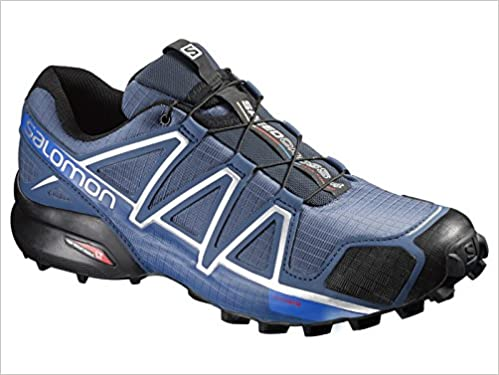 0d81269d910f Salomon Men s Speedcross 4 Trail Running Shoes Slate Blue Black   Blue  Yonder 10   Spare Quicklace Bundle Apparel
