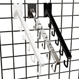 5 J Hook Gridwall Waterfall - 18'' L Square Tube Faceout Hook for Grid Panels - White - 10 Pack