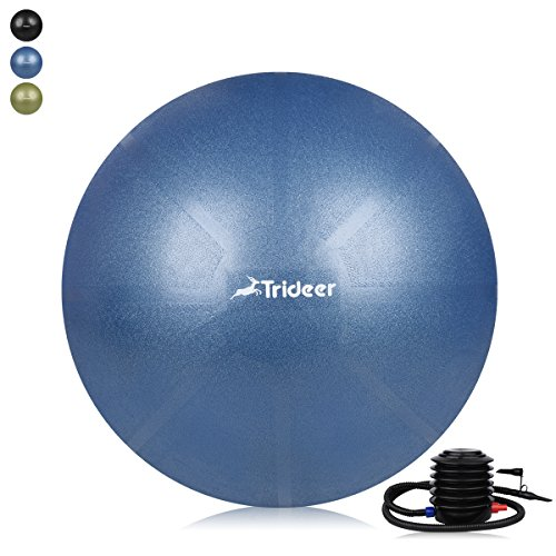 Trideer Exercise Ball (45-85cm) EXTRA THICK Yoga Ball Chair, Anti-Burst Heavy Duty Stability Ball Supports 2200lbs, Birthing Ball with Quick Pump (Office & Home & Gym) (Midnight Blue, 55cm)