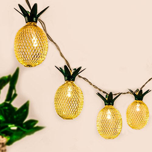 Pineapple String Lights,GIGALUMI 10ft 10 LED Fairy String Lights Battery Operated for Christmas Home Wedding Party Bedroom Birthday Decoration (Warm White)