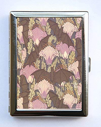 Bat and Poppies Art Nouveau Floral Pattern cigarette Case Business Card Holder ()