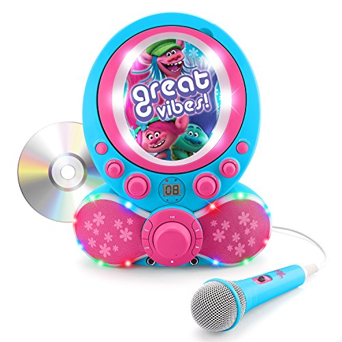 KIDdesigns Trolls CDG Karaoke Machine CD Player with Microphone (Player Cd Along Kids Sing)